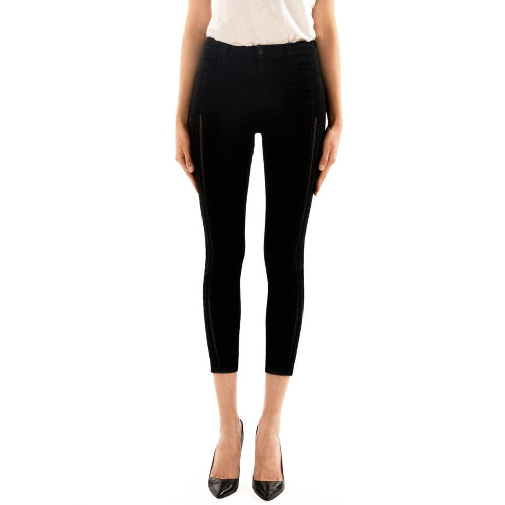 Alana High Rise Cropped Skinny Jeans - Black Ladder Lace