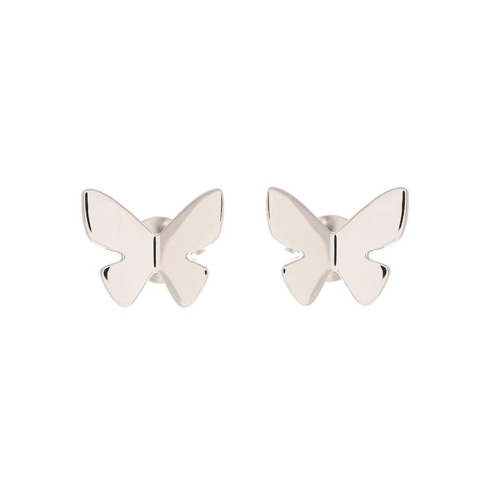 Social Butterfly Stud Earrings - Silver