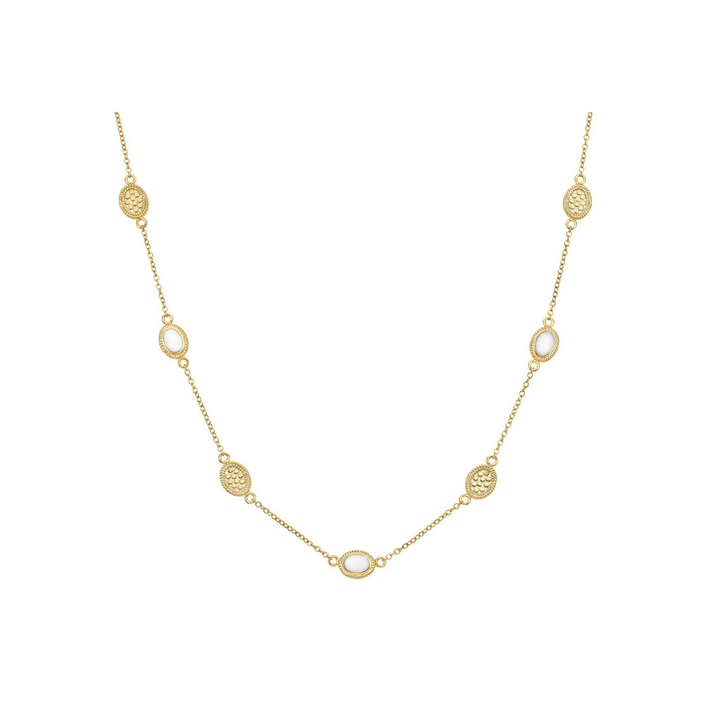 White Agate Station Necklace - Gold