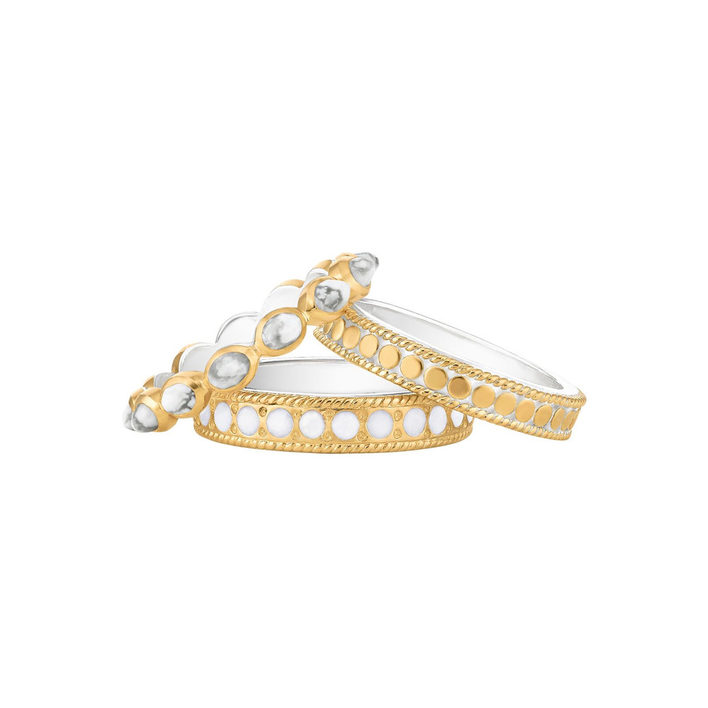 Howlite & White Agate Set of 3 Stacking Rings - Gold