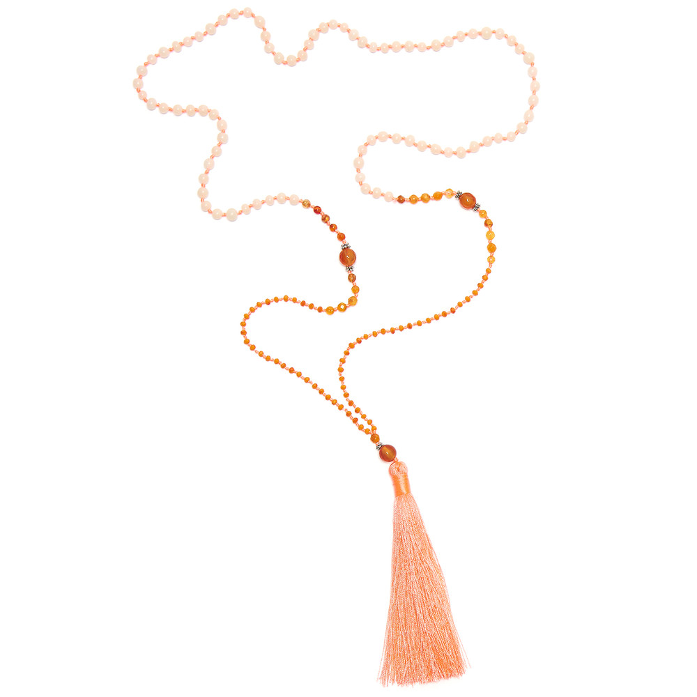 Single Tassel Necklace - Fine Coral