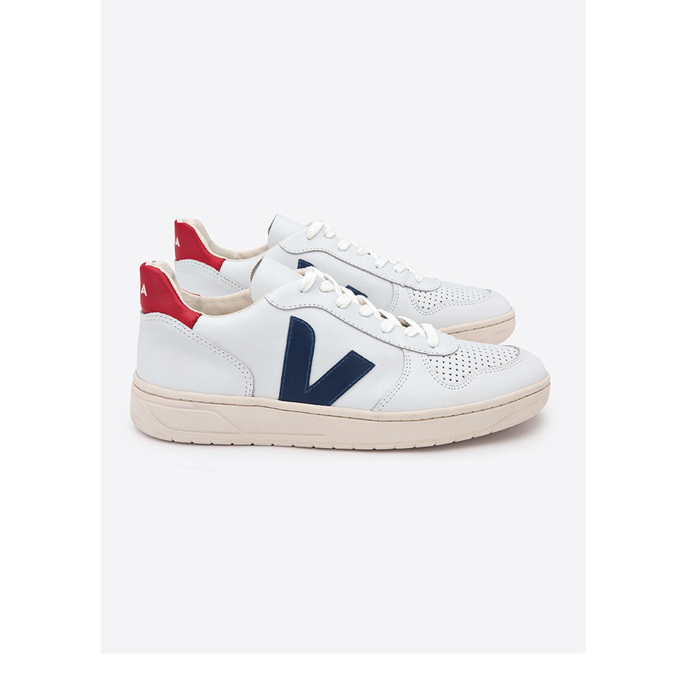V-10 Leather Trainers - Extra White & Nautico Pekin