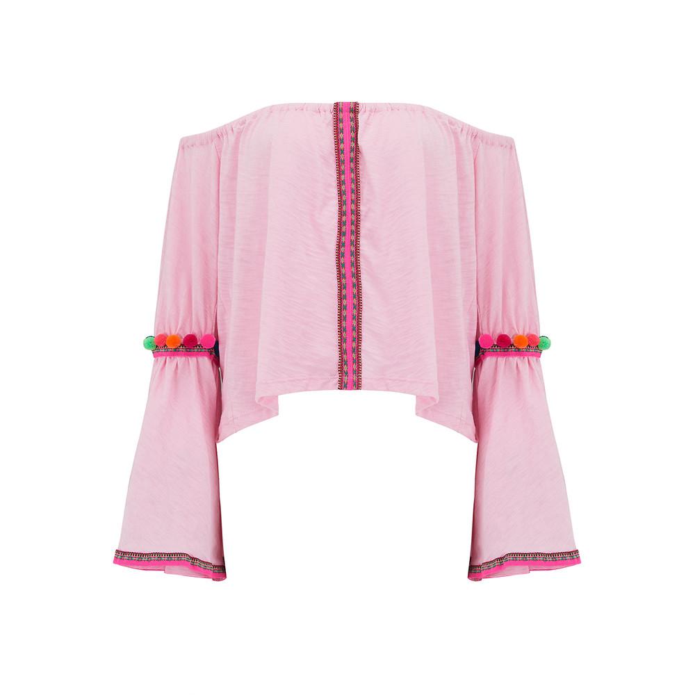 Pom Pom Crop Top - Light Pink