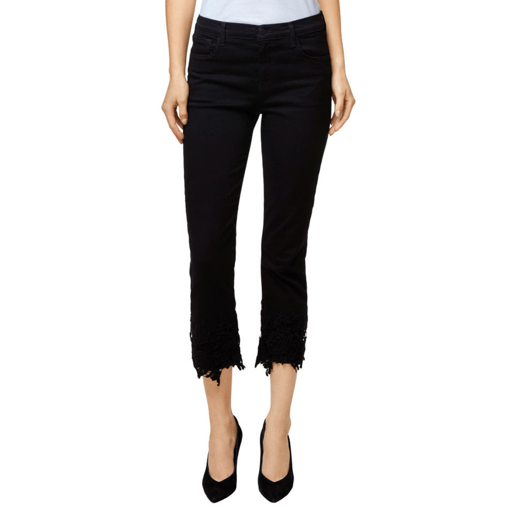 Ruby High Rise Cropped Cigarette Jeans - Black Lace