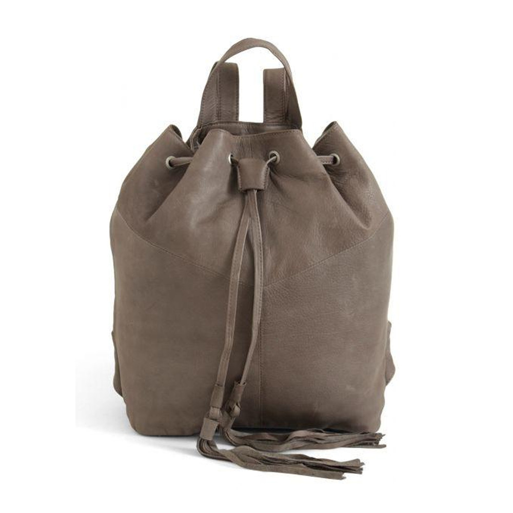 Natasja Leather Backpack - Light Grey