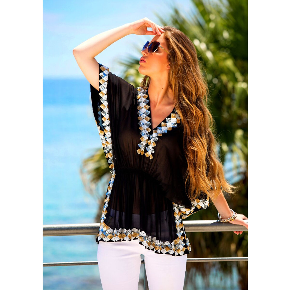 Manhattan Top - Black, White, Silver & Gold