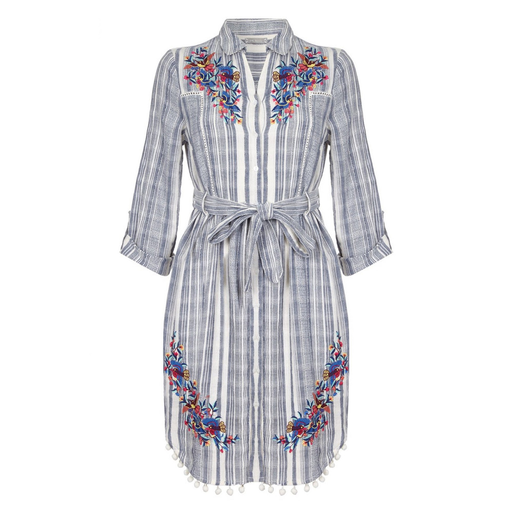 Liza Shirt Dress - Blue Stripe