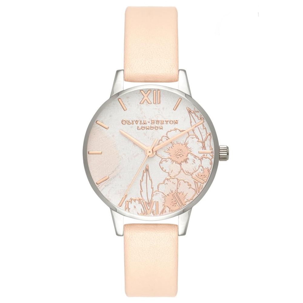 Abstract Florals Midi Dial Watch - Nude Peach, Silver & Rose Gold