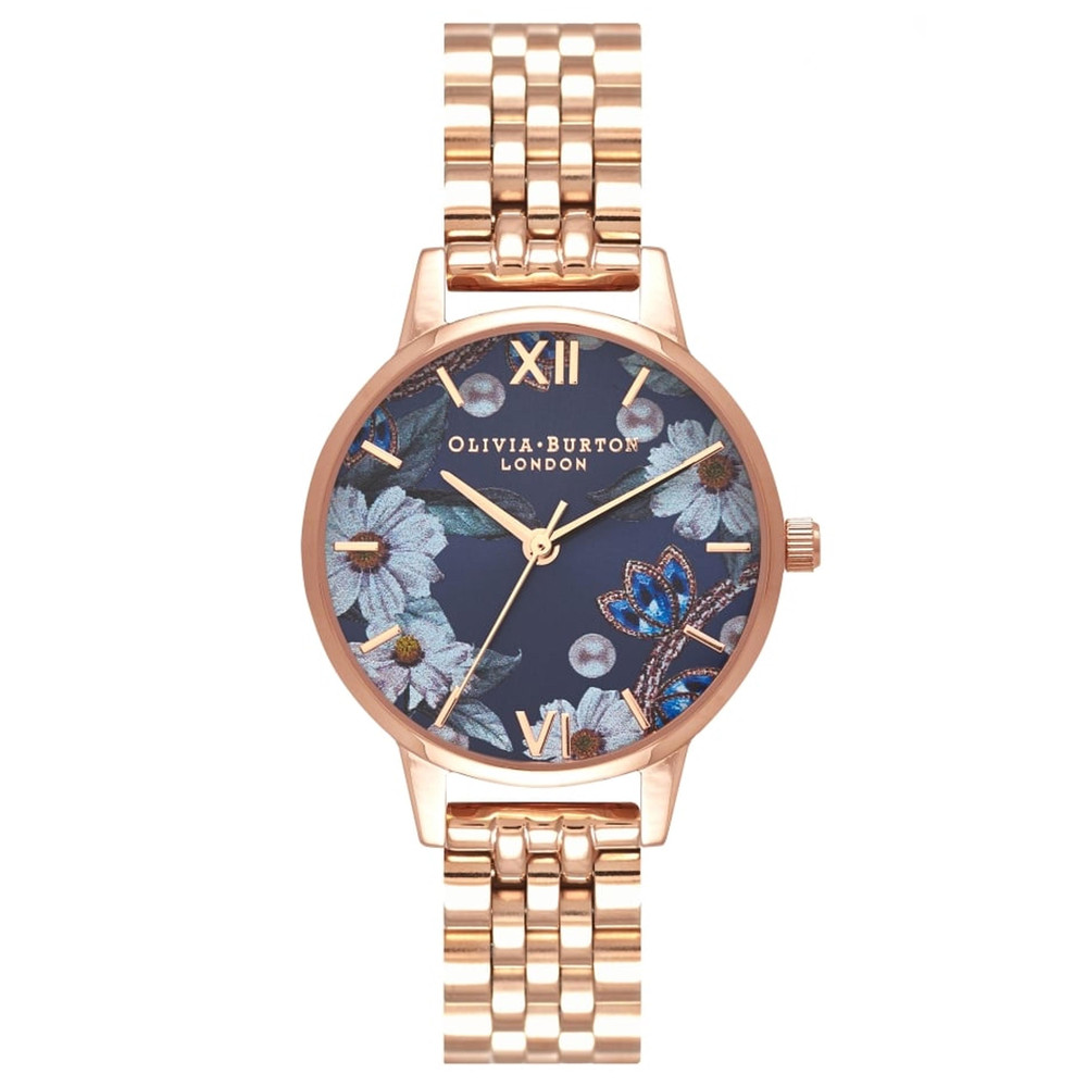 Bejewelled Floral Navy Sunray Dial Bracelet Watch - Rose Gold
