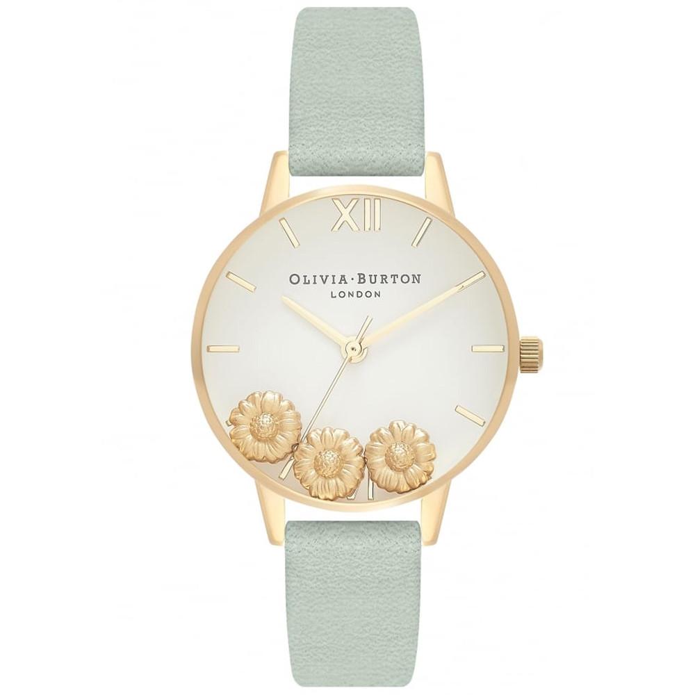 Dancing Daisy Midi Dial Watch - Sage & Gold