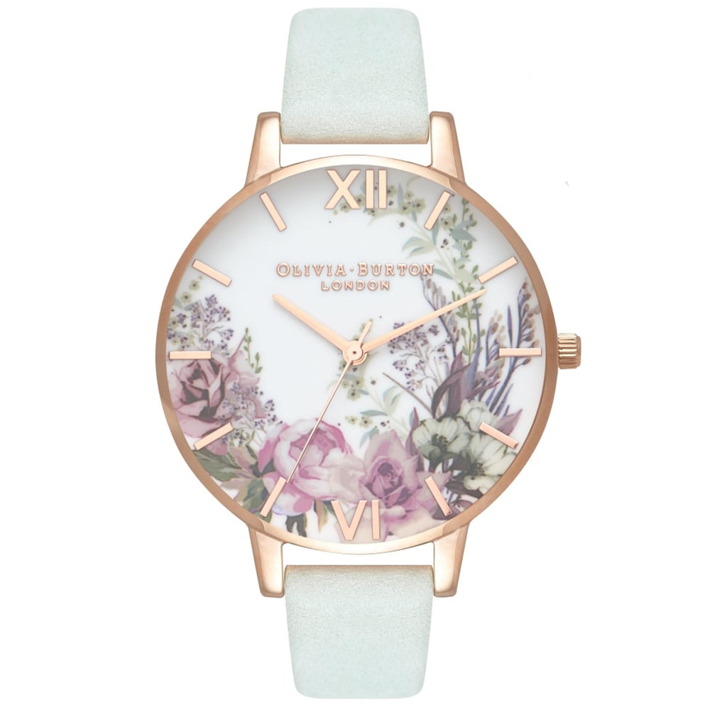 Enchanted Garden Floral Watch - Sage & Rose Gold