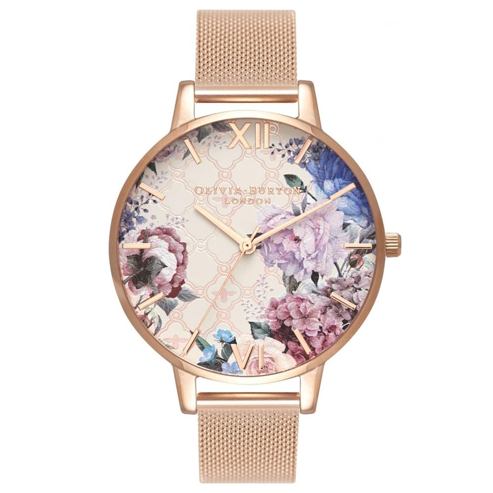 Glasshouse Big Dial Watch - Rose Gold Mesh