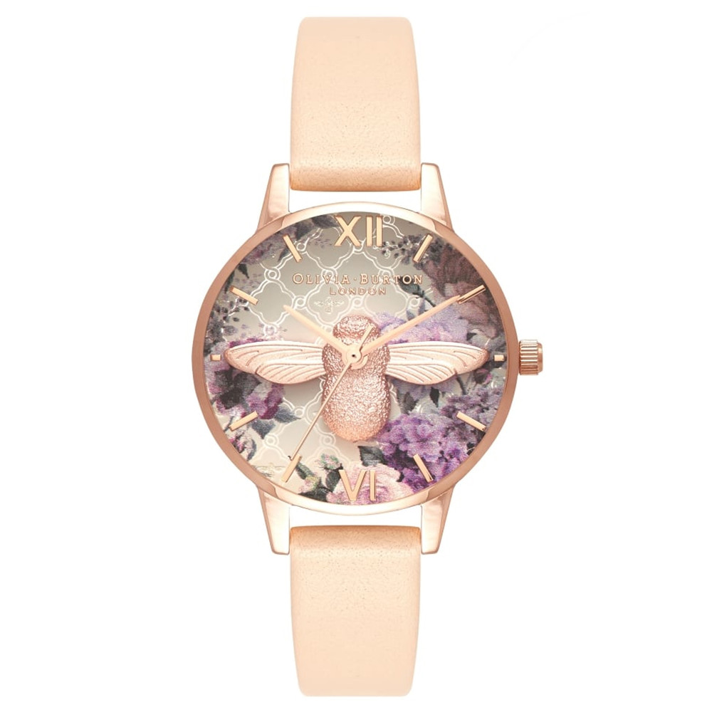Glasshouse 3D Bee Midi Dial Watch - Nude Peach & Rose Gold