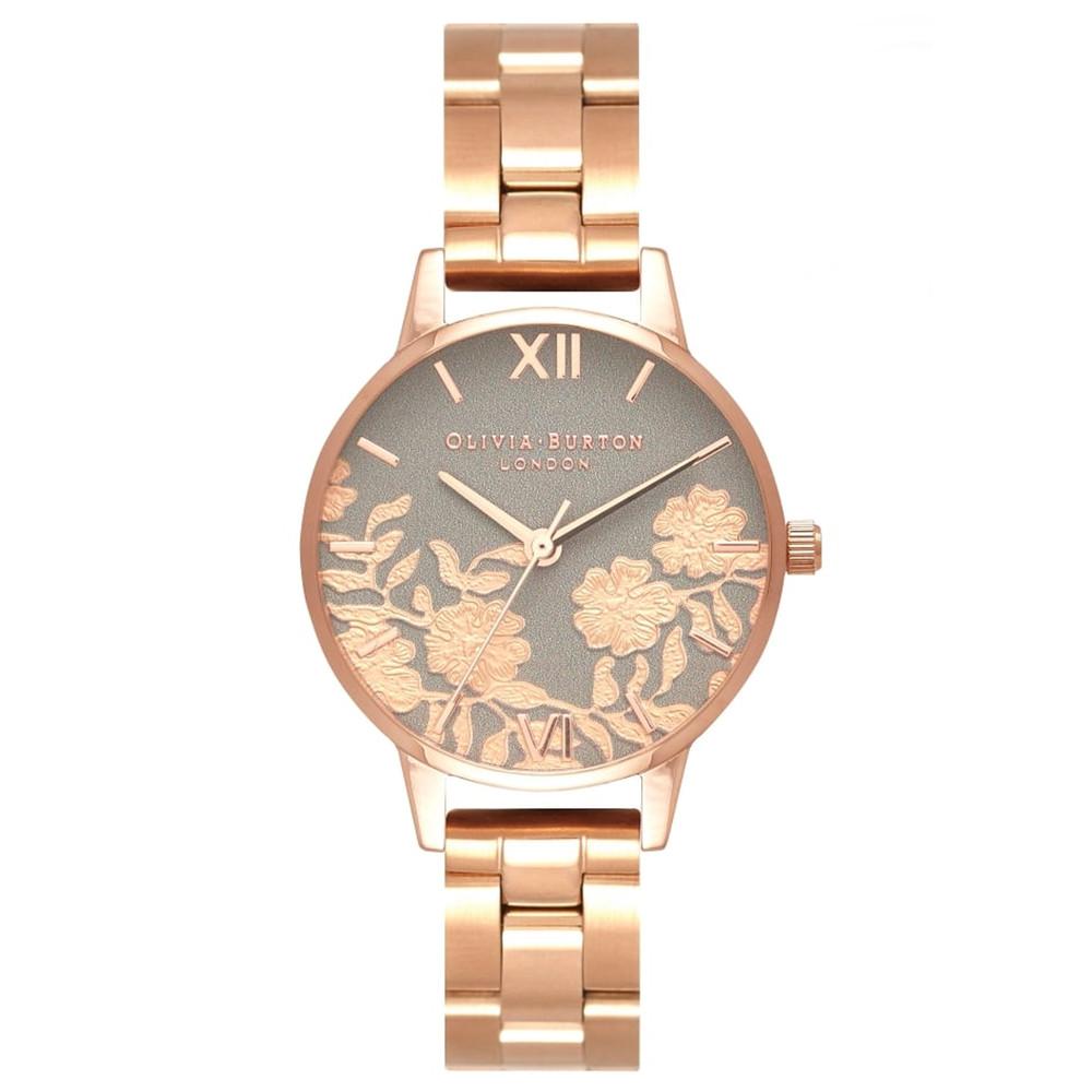 Lace Detail Bracelet Watch - Grey & Rose Gold