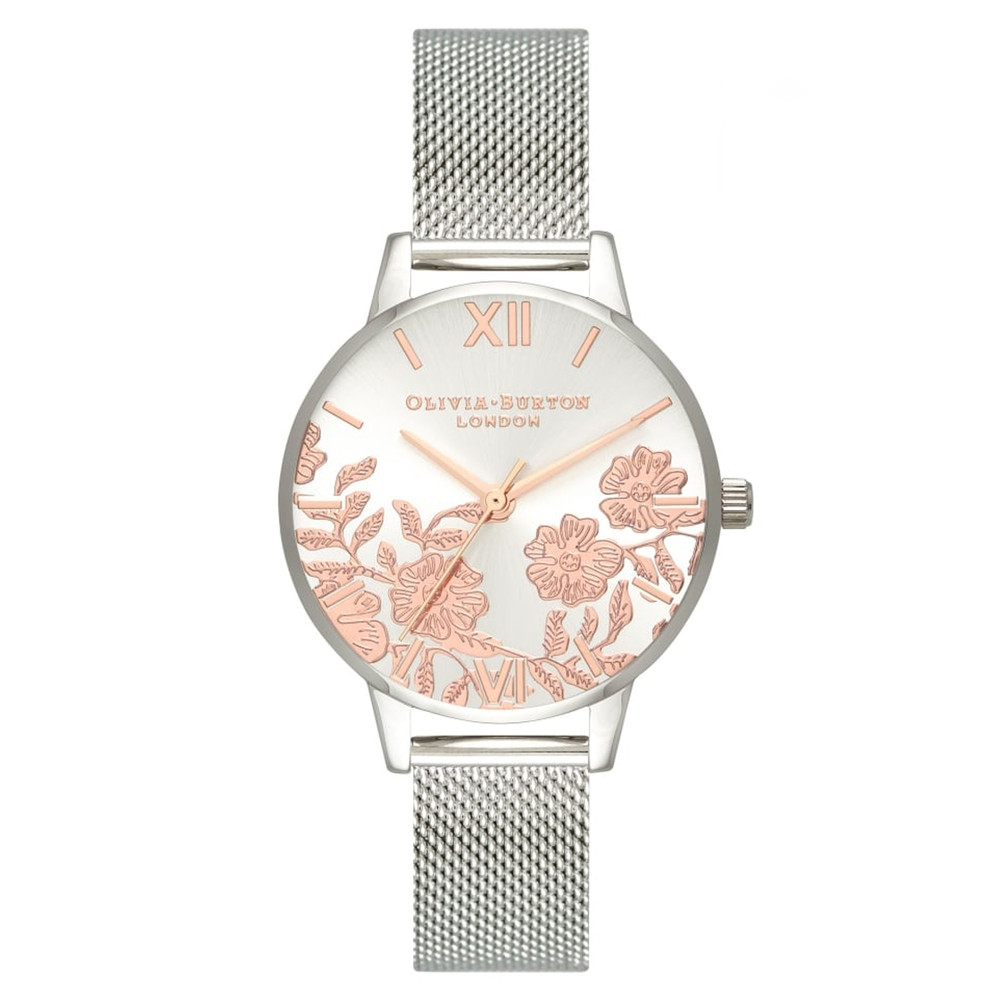 Lace Detail Midi Dial Mesh Watch - Rose Gold & Silver