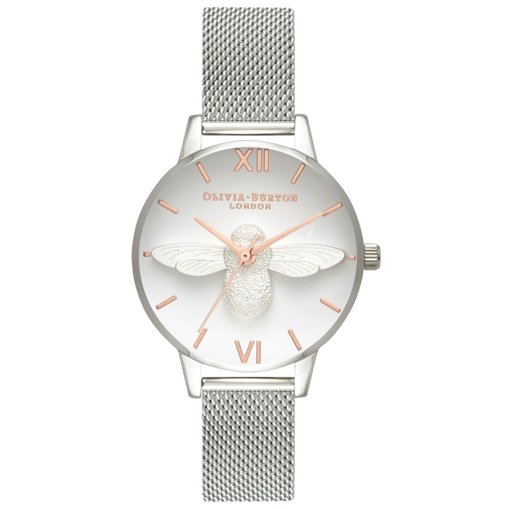 Midi 3D Bee Mesh Watch - Silver & Rose Gold