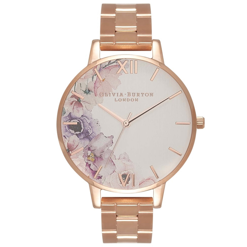 Watercolour Floral Big Dial Bracelet Watch - Rose Gold