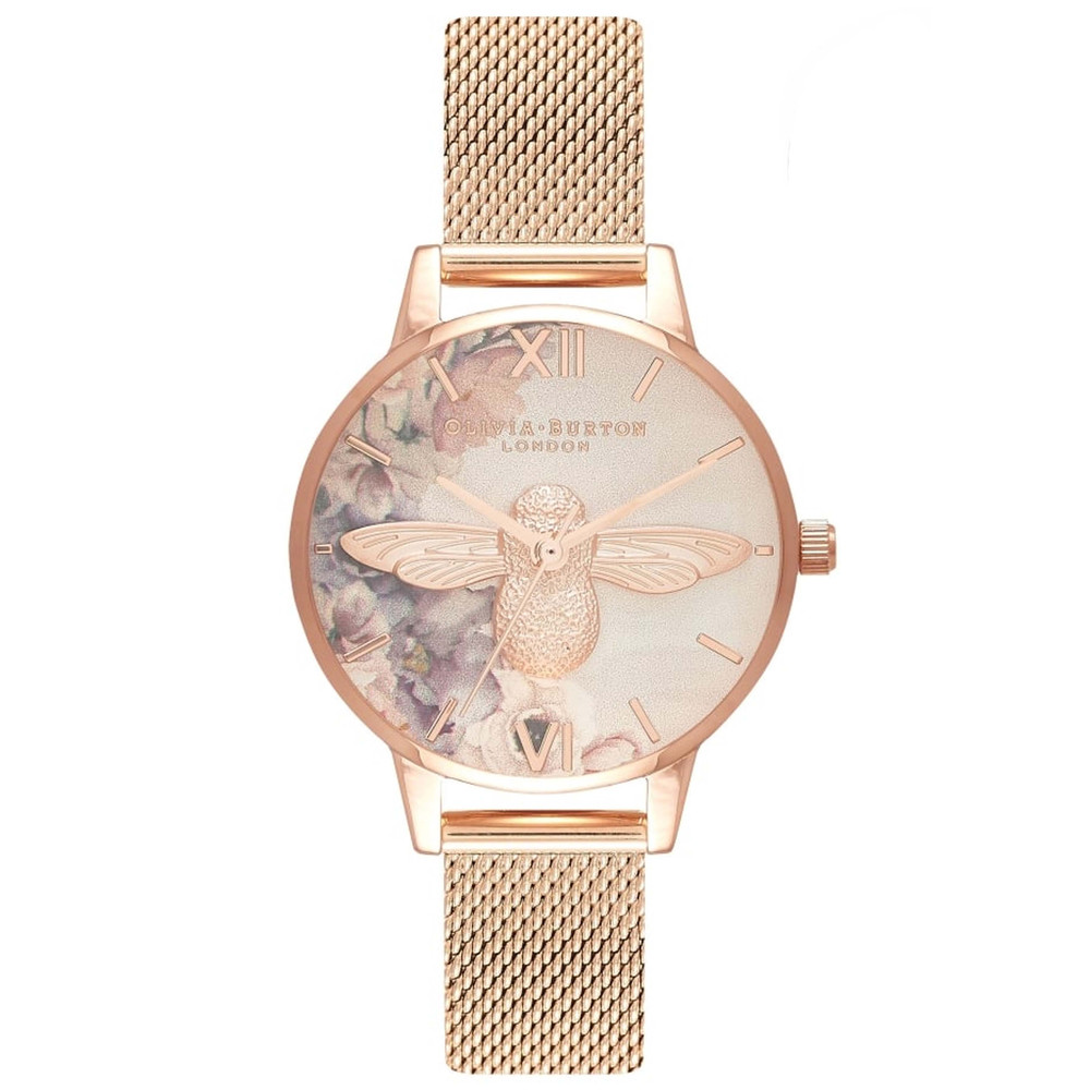 Watercolour Florals Midi 3D Bee Mesh Watch - Rose Gold