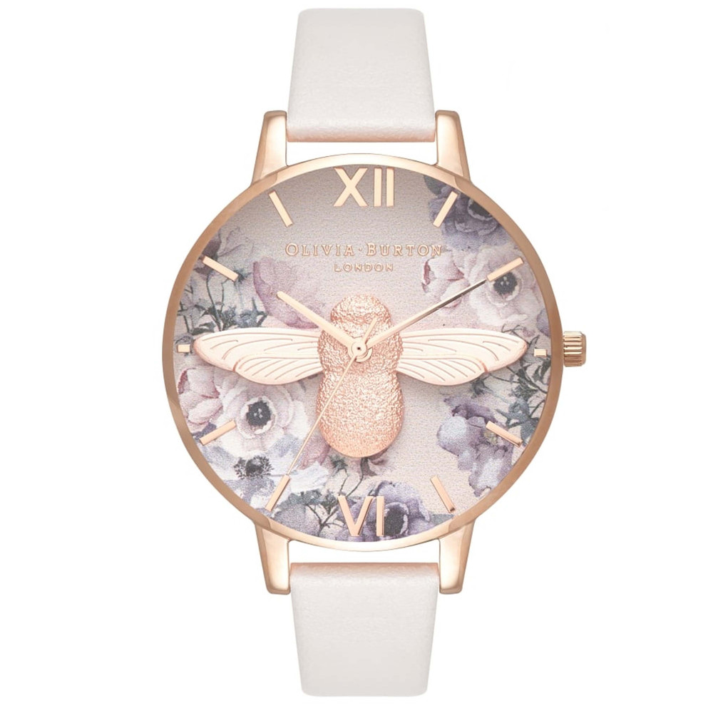 Watercolour Floral 3D Bee Big Dial Watch - Blush & Rose Gold