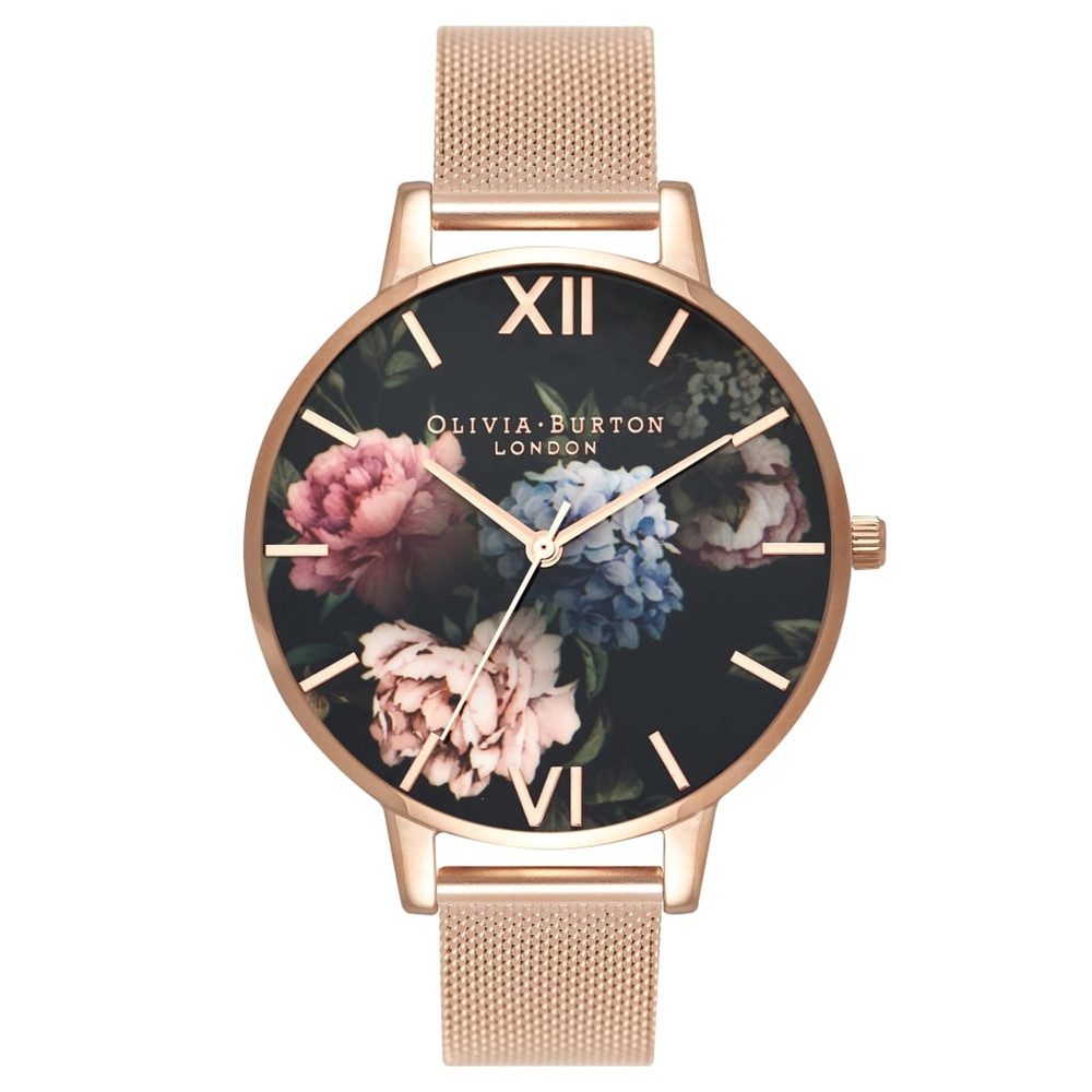 Dark Bouquet Big Dial Mesh Watch - Rose Gold