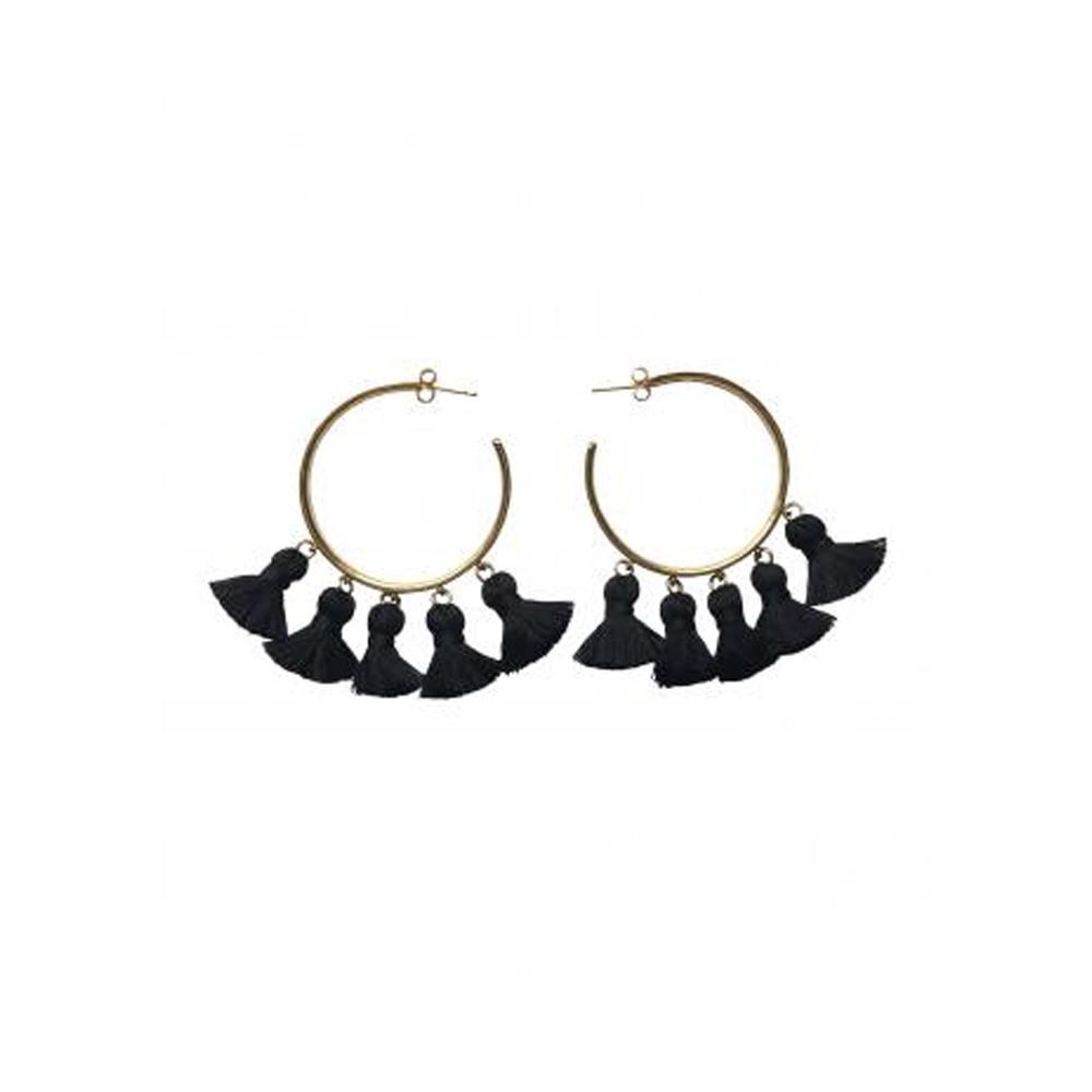 Raquel Tassel Hoop Earrings - Black & Gold