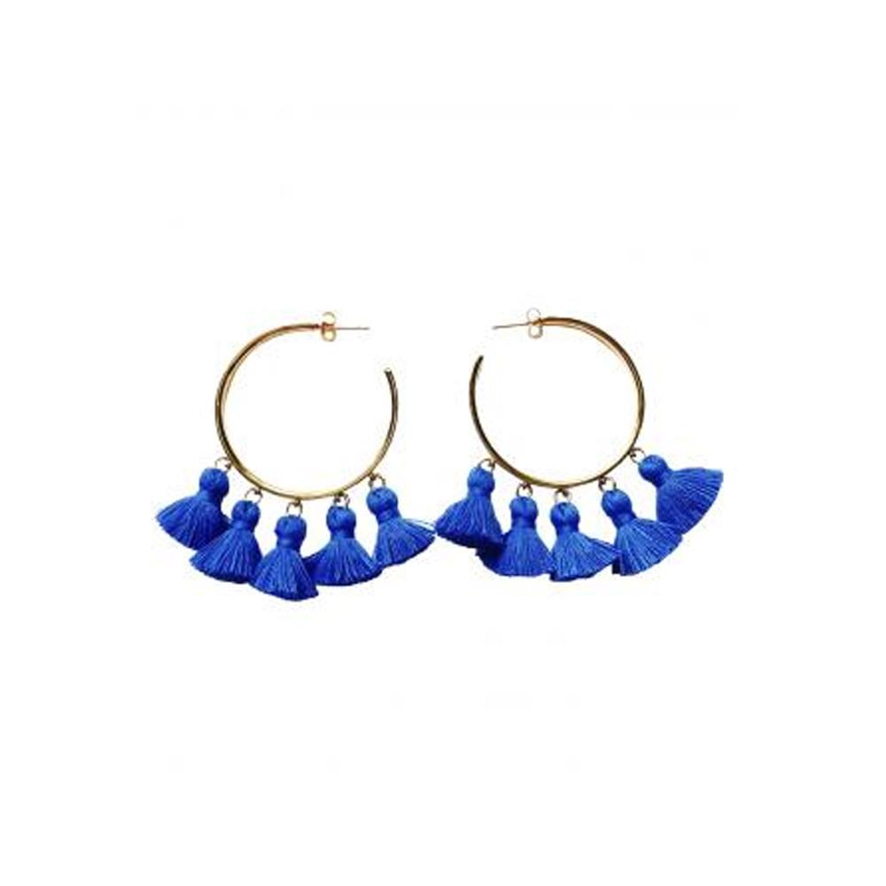 Raquel Tassel Hoop Earrings - Blue & Gold