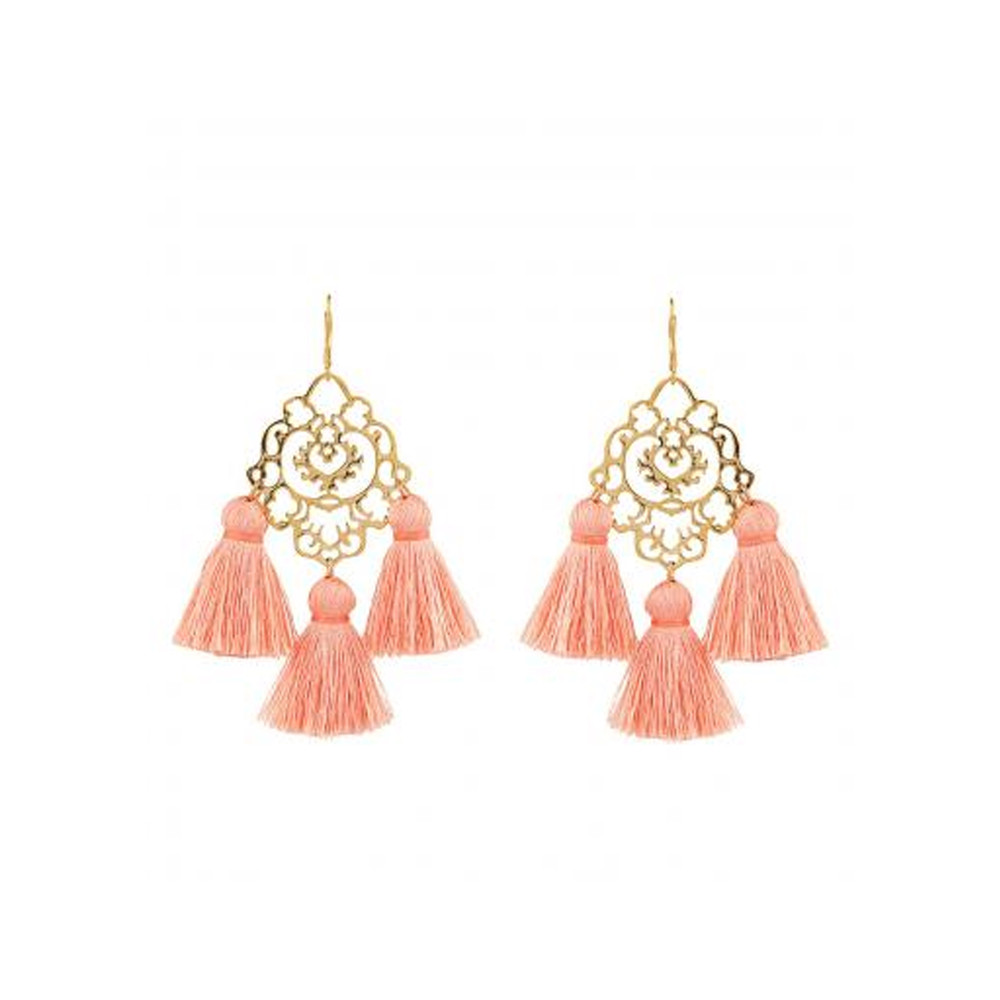 Rita Tassel Earrings - Dusty Pink