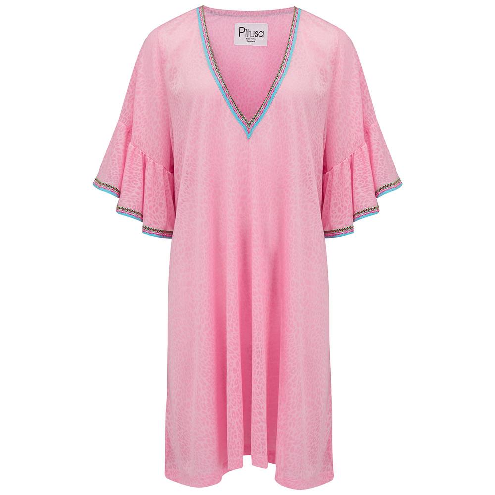 Ruffle Sleeve Dress - Pink Cheetah