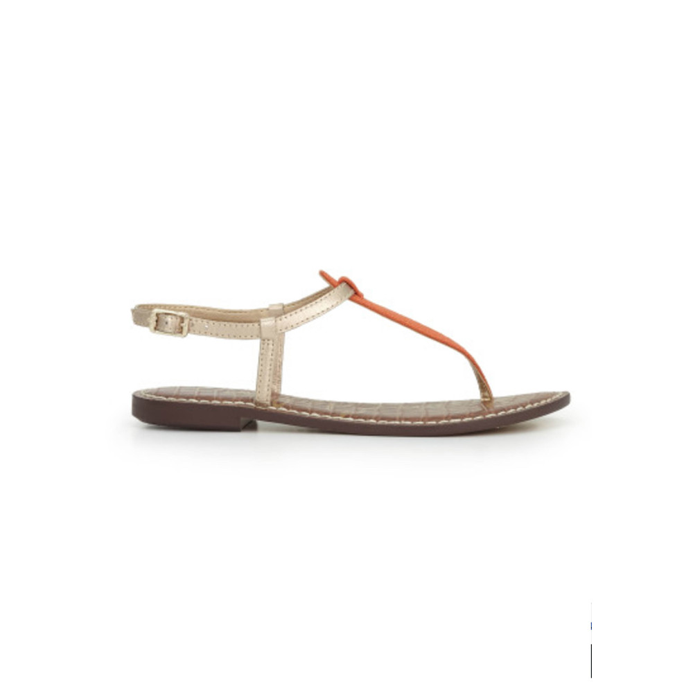 Gigi Sandals - Gold & Orange Linen