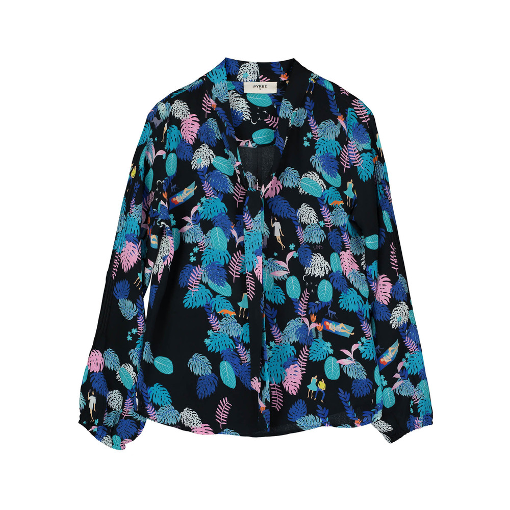 Jamie Silk Blouse - Forest Life