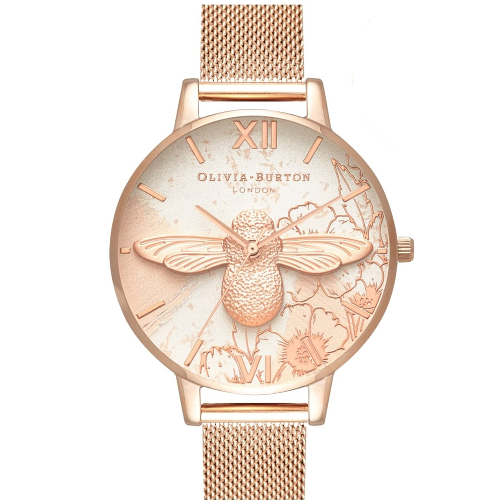 Abstract Florals 3D Bee Mesh Watch - Rose Gold