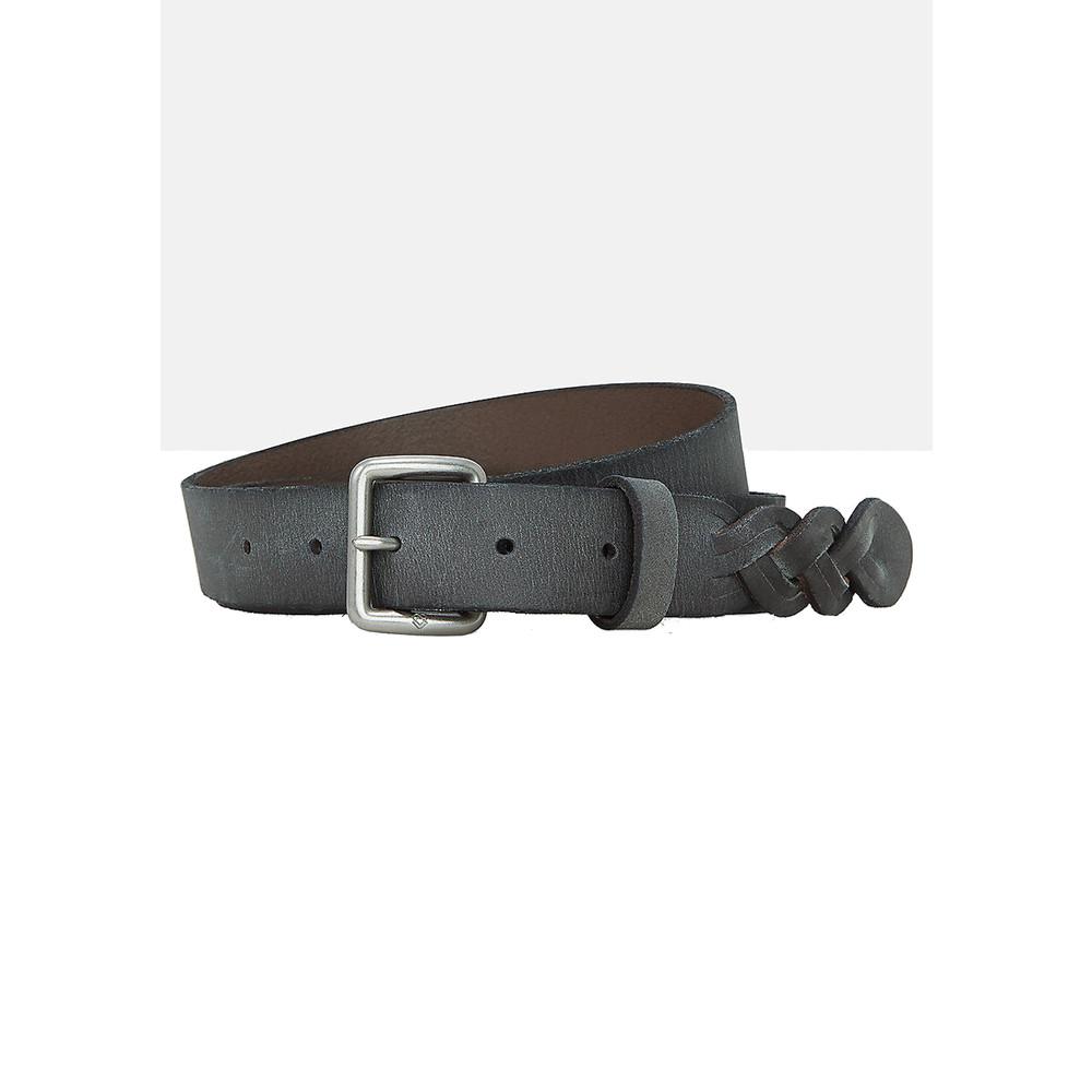 Leather Belt with Braiding - Steel Grey