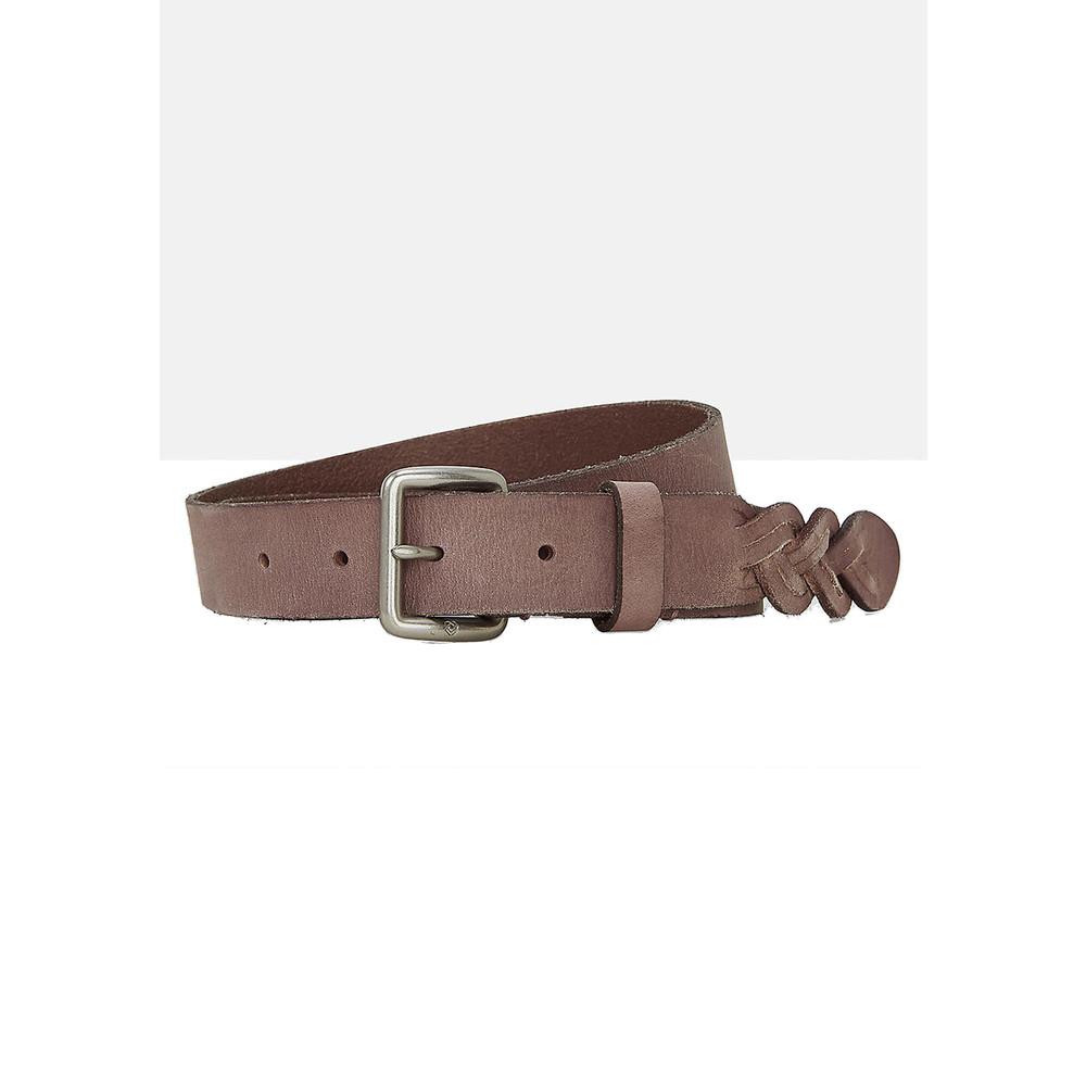 Leather Belt with Braiding - Powder Rose