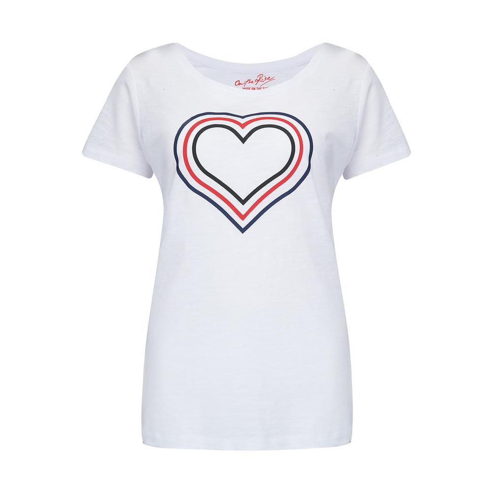 Concentric Hearts Tee - White Multi