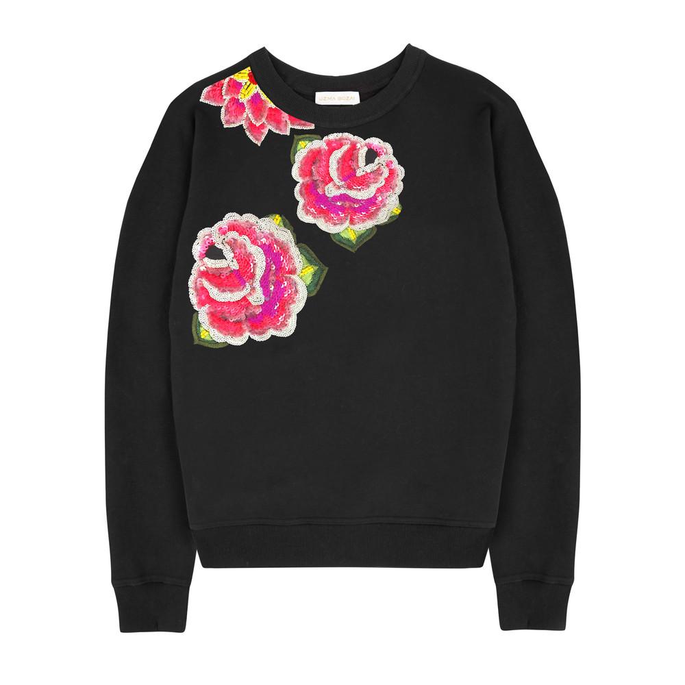 Rosa Floral Sweatshirt - Black