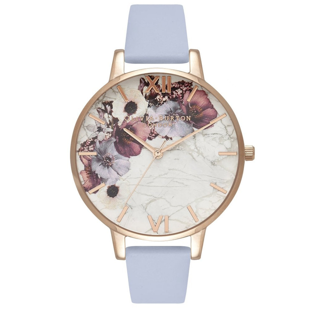 Marble Florals Big Dial Watch - Chalk Blue & Rose Gold