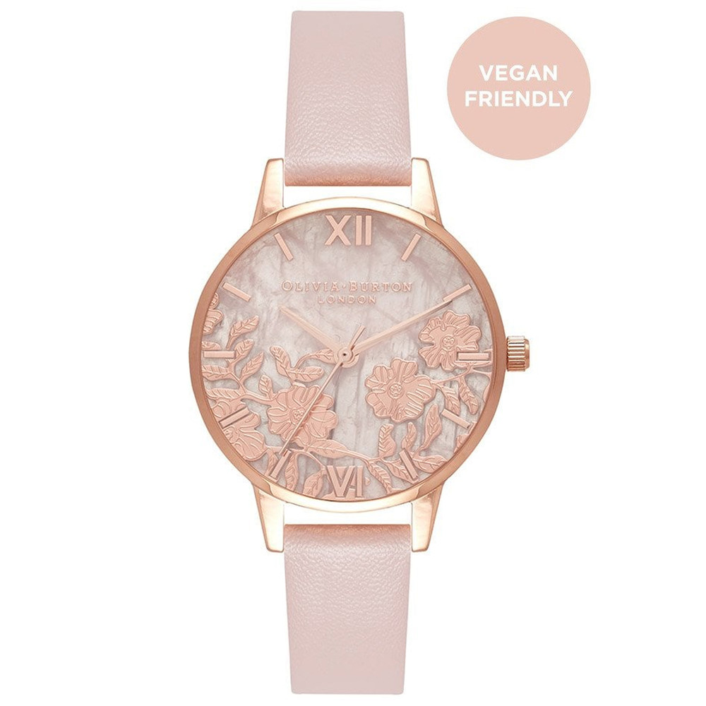 Semi Precious Rose Quartz Vegan Friendly Midi Dial Watch - Rose Sand & Rose Gold