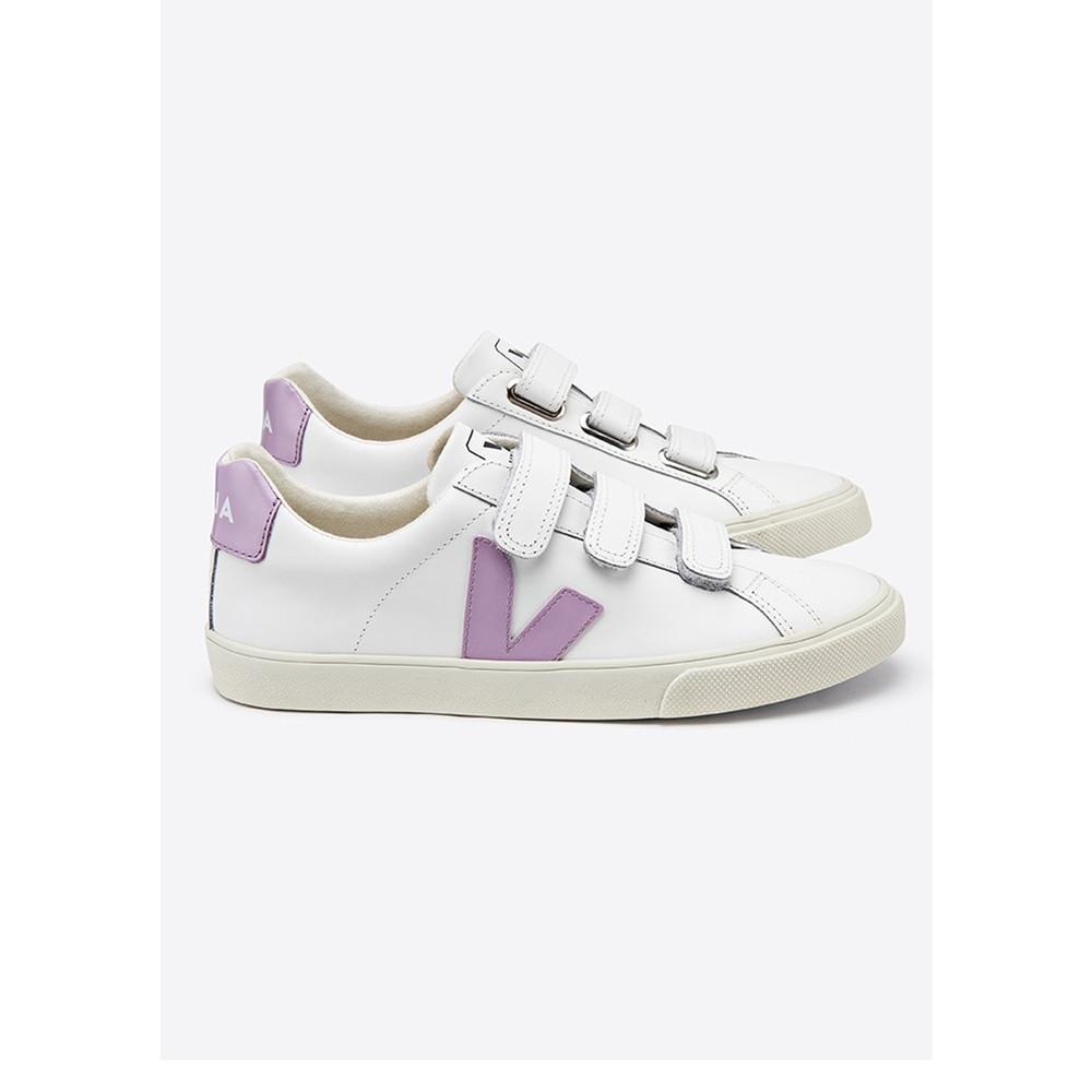 Esplar 3 Lock Leather Trainers - Extra White & Lilac