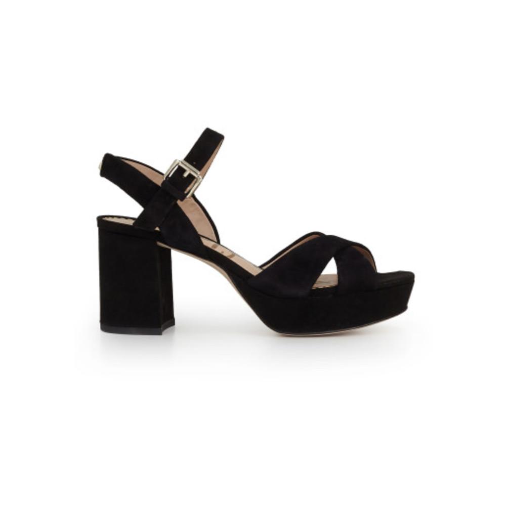 Jolene Suede Platform Sandal - Black