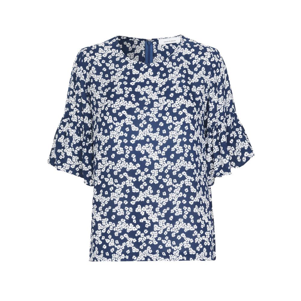 Serena AOP Short Sleeve Top - Blue Daisy