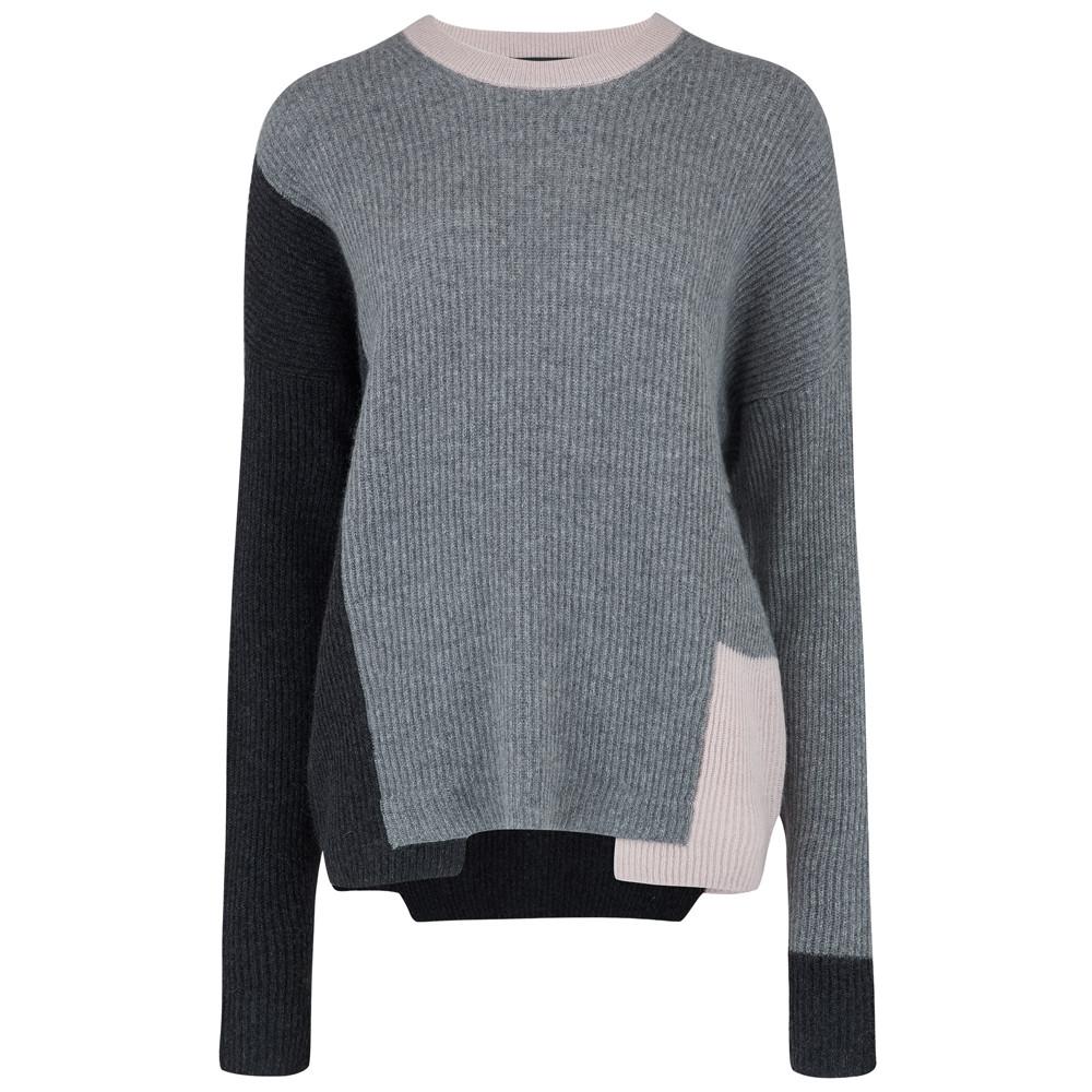 Akima Cashmere Sweater - Graphite Grey & Buff