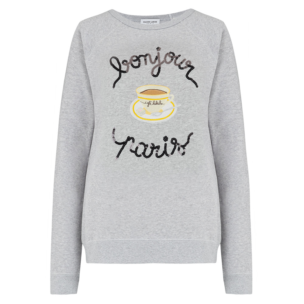 Cafe Paillettes Sweater - Heather Grey