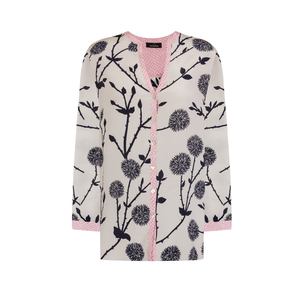 Hale Long Sleeve Silk Blouse - Rose Circles