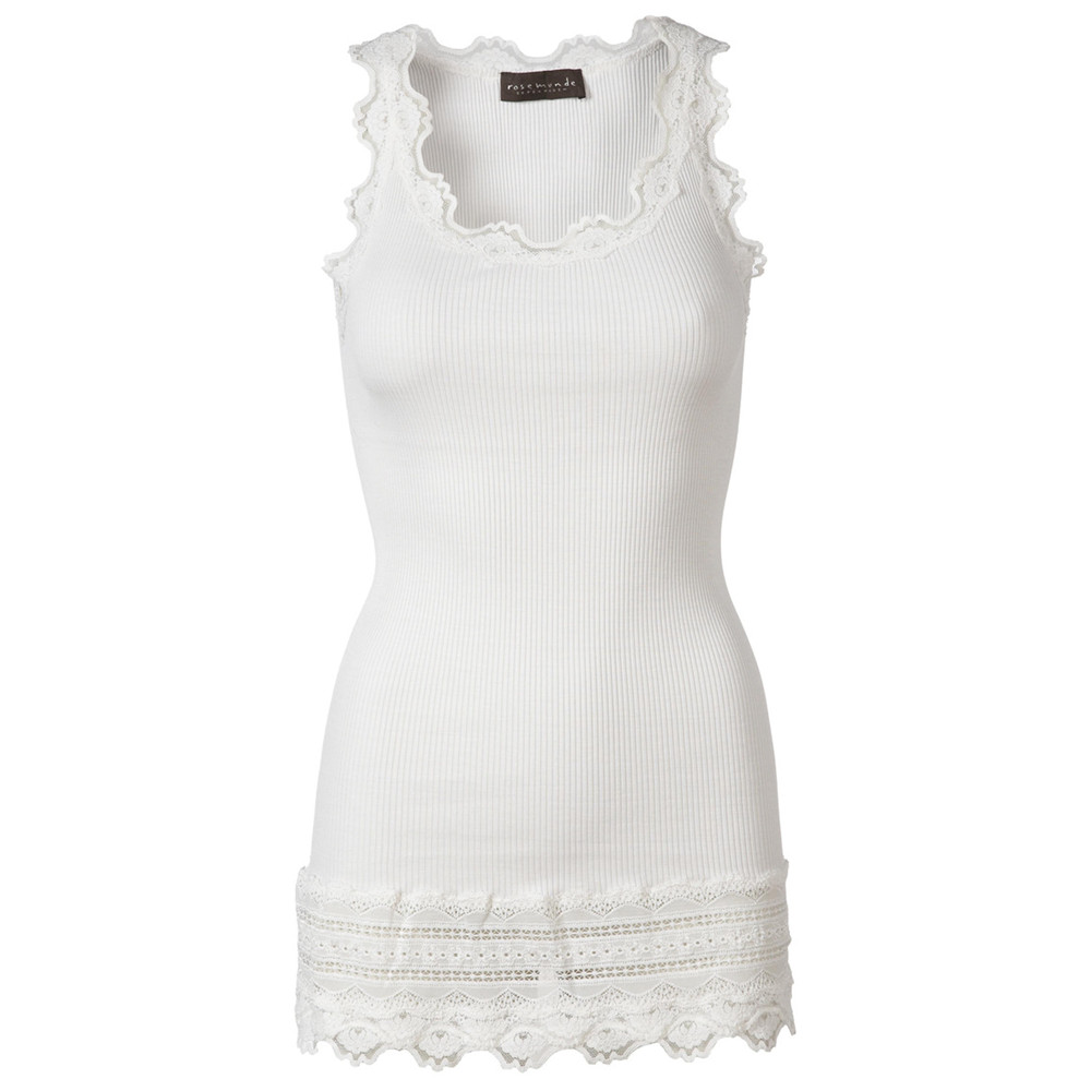 Wide Lace Silk Blend Vest - New White