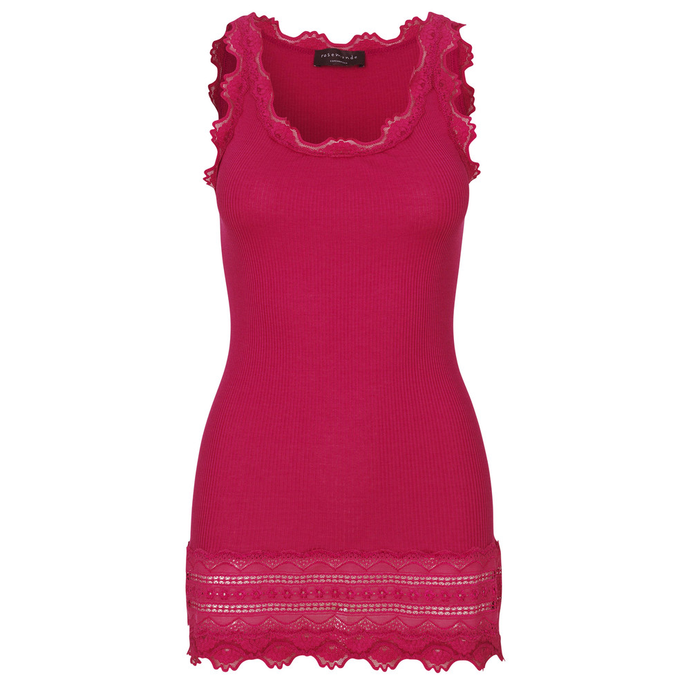 Wide Lace Silk Blend Vest - Raspberry Red