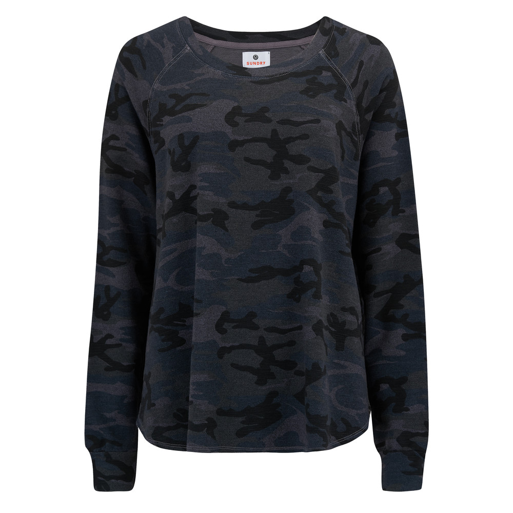 Camo Trapeze Raglan Sweater - Charcoal