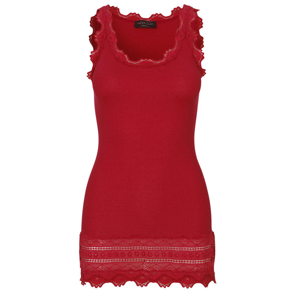 Wide Lace Silk Blend Vest - Scooter Red