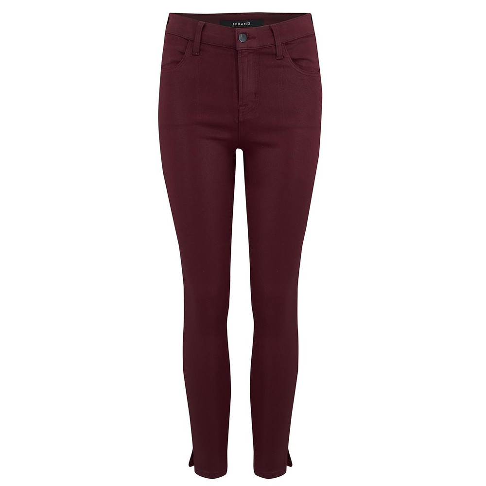 Alana High Rise Crop Coated Jeans - Oxblood
