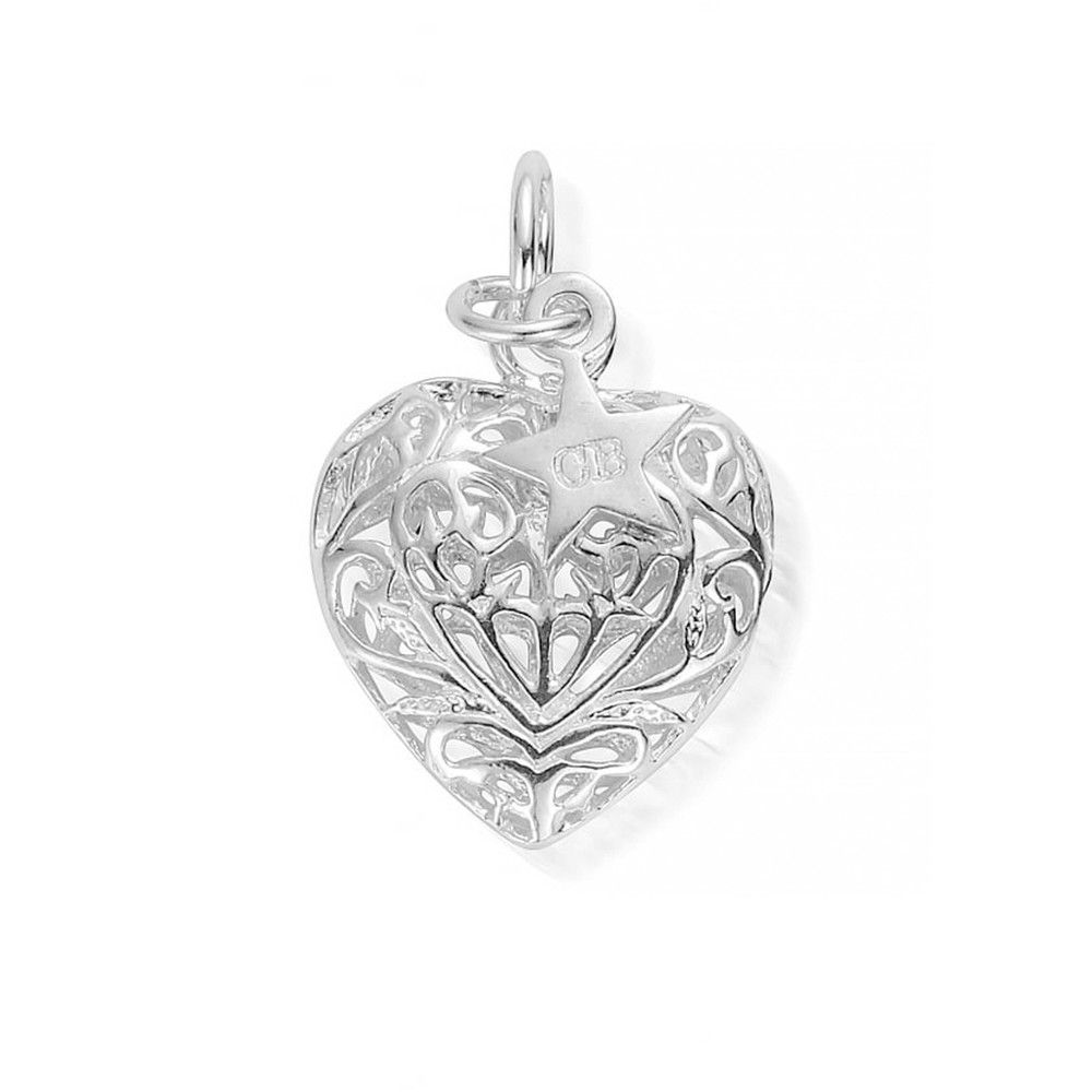 Medium Filigree Heart Pendant - Silver