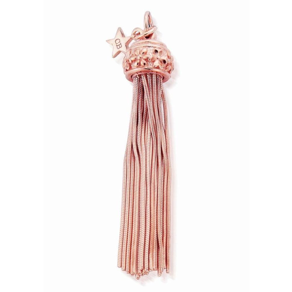XL Rose Flower Tassel Pendant - Rose Gold